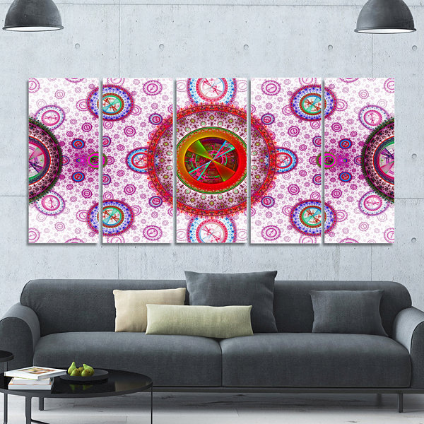 Pink Psychedelic Relaxing Art Abstract Canvas ArtPrint - 5 Panels