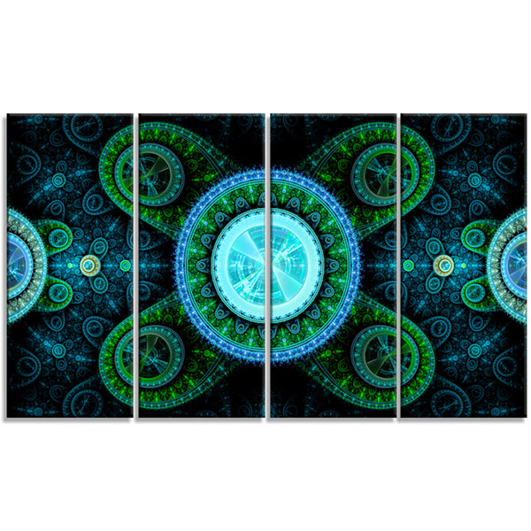 Designart Bright Blue Psychedelic Relaxing Art Abstract Canvas Art Print - 4 Panels