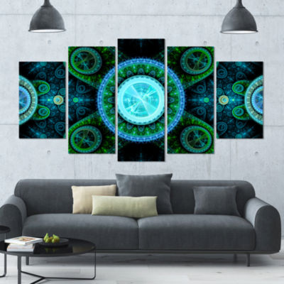 Bright Blue Psychedelic Relaxing Art ContemporaryCanvas Art Print - 5 Panels