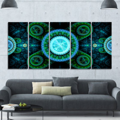 Bright Blue Psychedelic Relaxing Art Abstract Canvas Art Print - 5 Panels