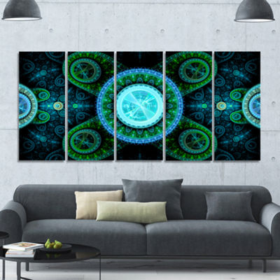Designart Bright Blue Psychedelic Relaxing Art Abstract Canvas Art Print - 5 Panels