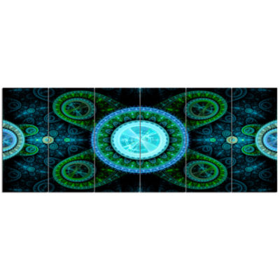 Bright Blue Psychedelic Relaxing Art Abstract Canvas Art Print - 6 Panels