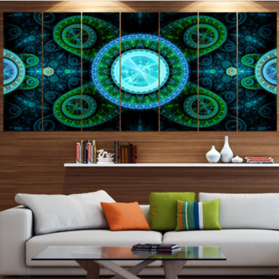 Designart Bright Blue Psychedelic Relaxing Art Abstract Canvas Art Print - 7 Panels