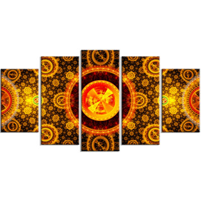 Golden Psychedelic Relaxing Art Contemporary Canvas Art Print - 5 Panels
