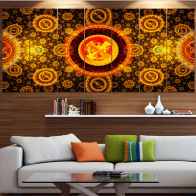 Golden Psychedelic Relaxing Art Abstract Canvas Art Print - 5 Panels