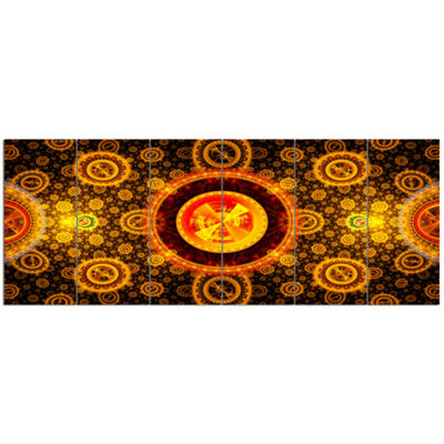 Golden Psychedelic Relaxing Art Abstract Canvas Art Print - 6 Panels