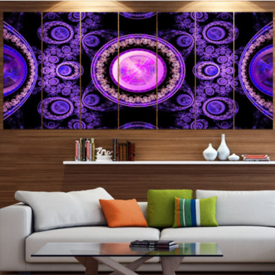 Purple Psychedelic Relaxing Art Contemporary Canvas Art Print - 5 Panels