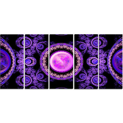 Purple Psychedelic Relaxing Art Abstract Canvas Art Print - 5 Panels