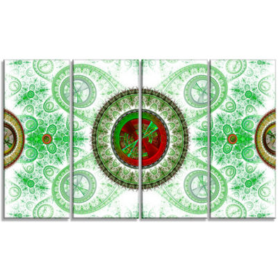 Light Green Psychedelic Relaxing Art Abstract Canvas Art Print - 4 Panels