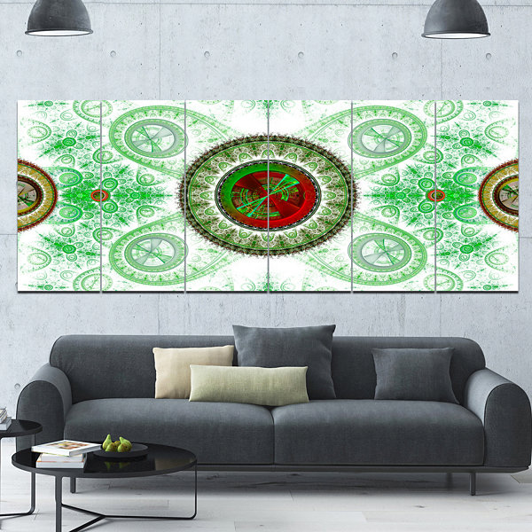 Light Green Psychedelic Relaxing Art Abstract Canvas Art Print - 6 Panels