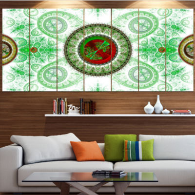 Light Green Psychedelic Relaxing Art Abstract Canvas Art Print - 7 Panels