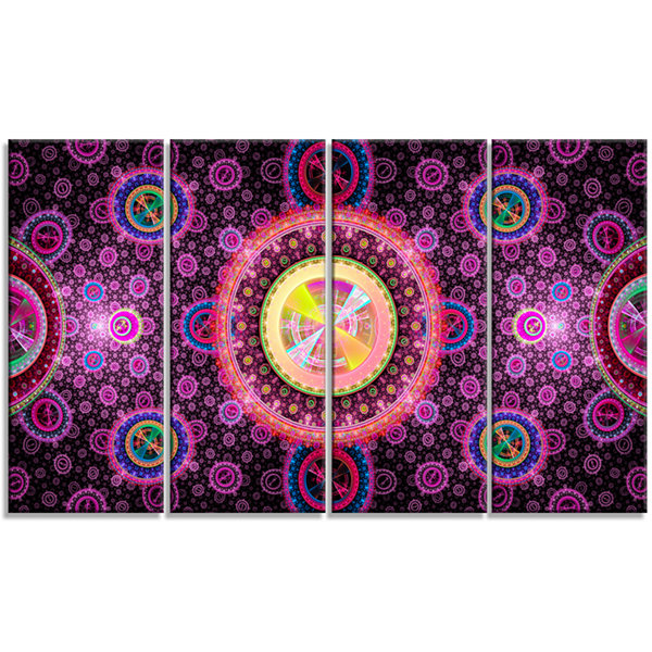 Designart Bright Pink Psychedelic Relaxing Art Abstract Canvas Art Print - 4 Panels