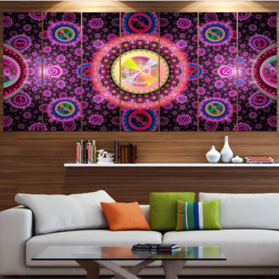 Bright Pink Psychedelic Relaxing Art Abstract Canvas Art Print - 4 Panels
