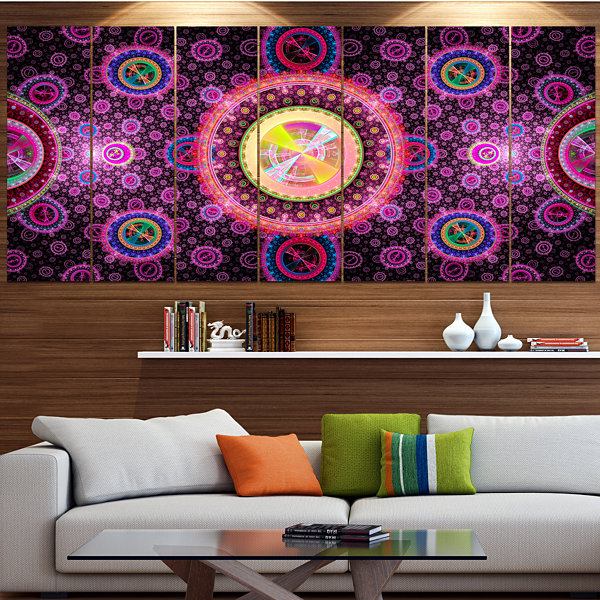 Designart Bright Pink Psychedelic Relaxing Art ContemporaryCanvas Art Print - 5 Panels