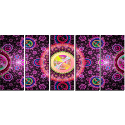 Designart Bright Pink Psychedelic Relaxing Art Abstract Canvas Art Print - 5 Panels