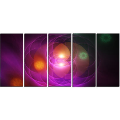Merge Colored Spheres. Contemporary Canvas Art Print - 5 Panels