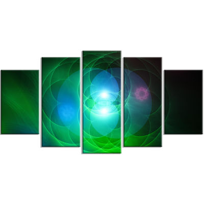 Merge Colored Spheres. Contemporary Wrapped CanvasArt Print - 5 Panels