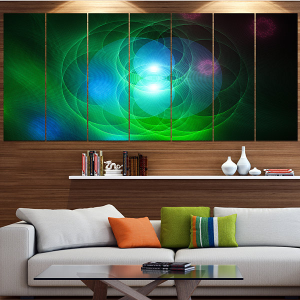 Merge Colored Spheres. Large Abstract Canvas Art Print - 7 Panels