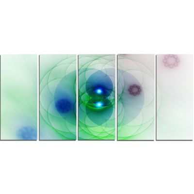 Merge Colored Spheres. Abstract Canvas Art Print -5 Panels