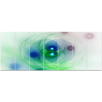 Merge Colored Spheres. Abstract Canvas Art Print -7 Panels