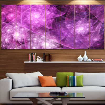 Pink Rotating Polyhedron Contemporary Canvas Art Print - 5 Panels