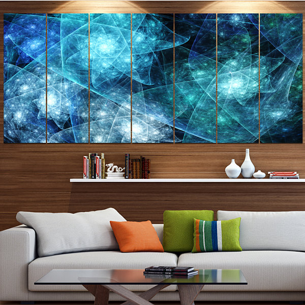 Design Art Blue Rotating Polyhedron Abstract Canvas Art Print- 6 Panels