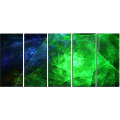 Green Rotating Polyhedron Abstract Canvas Art Print - 5 Panels