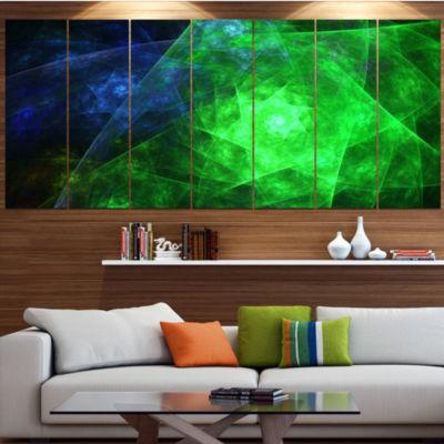 Green Rotating Polyhedron Abstract Canvas Art Print - 7 Panels