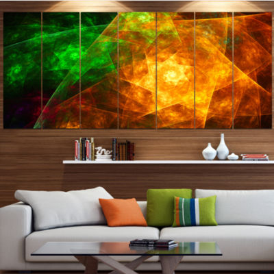 Yellow Rotating Polyhedron Abstract Canvas Art Print - 4 Panels
