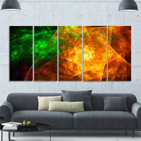 Yellow Rotating Polyhedron Abstract Canvas Art Print - 5 Panels