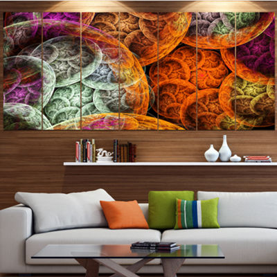 Multi Color Dramatic Clouds Contemporary Canvas Art Print - 5 Panels