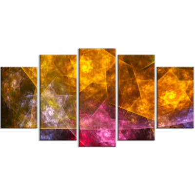Yellow Pink Rotating Polyhedron Contemporary Canvas Art Print - 5 Panels