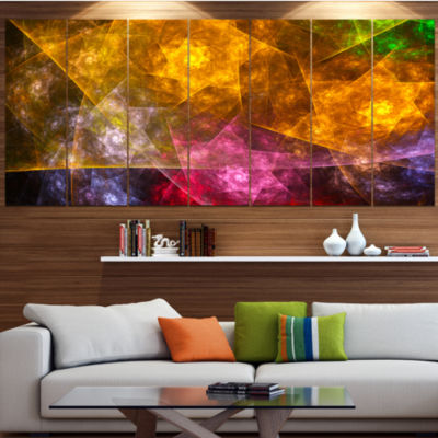 Yellow Pink Rotating Polyhedron Abstract Canvas Art Print - 7 Panels