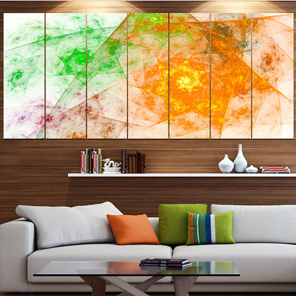 Green Yellow Rotating Polyhedron Abstract Canvas Art Print - 7 Panels