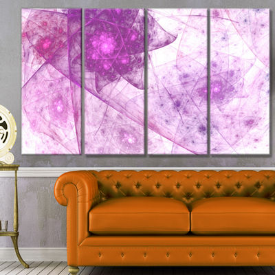 Light Purple Rotating Polyhedron Abstract Canvas Wall Art - 4 Panels