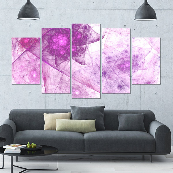 Light Purple Rotating Polyhedron Contemporary Canvas Wall Art - 5 ...