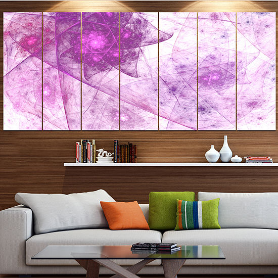 Light Purple Rotating Polyhedron Contemporary Canvas Wall Art - 5 Panels