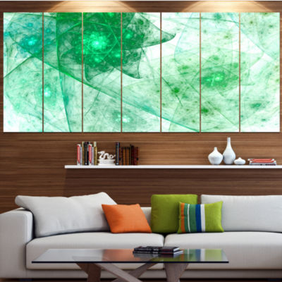 Clear Green Rotating Polyhedron Abstract Canvas Wall Art - 4 Panels