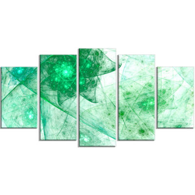 Designart Clear Green Rotating Polyhedron Contemporary Canvas Wall Art - 5 Panels