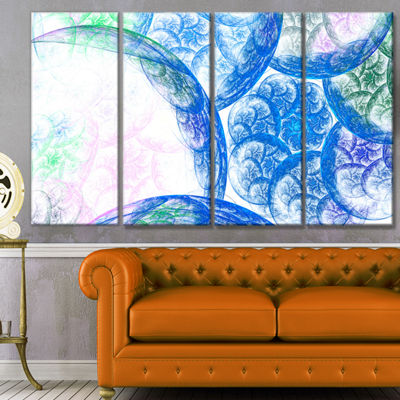 Designart Blue White Dramatic Clouds Abstract Canvas Wall Art - 4 Panels
