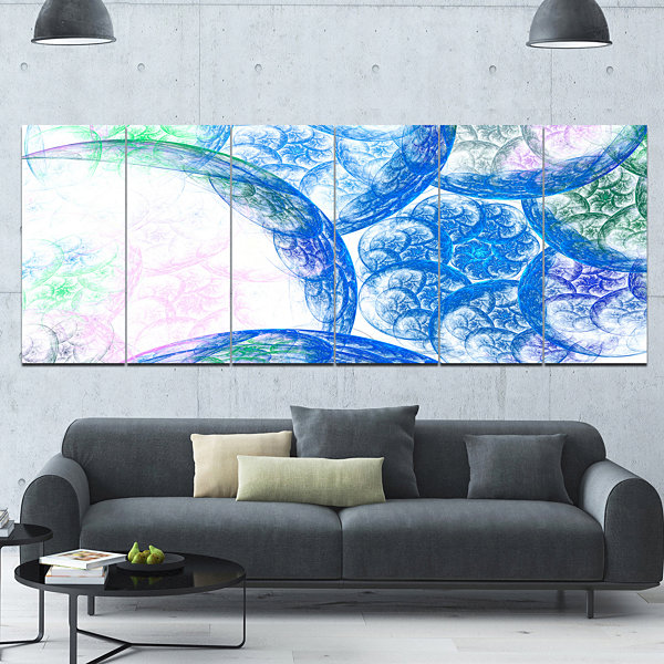 Designart Blue White Dramatic Clouds Abstract Canvas Wall Art - 6 Panels
