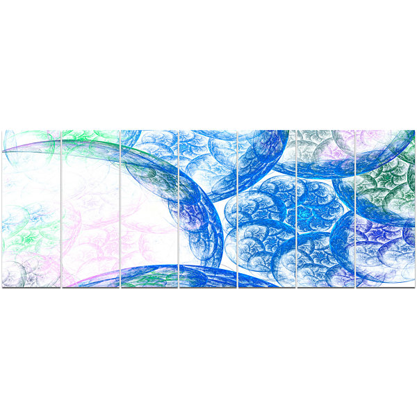 Designart Blue White Dramatic Clouds Abstract Canvas Wall Art - 7 Panels