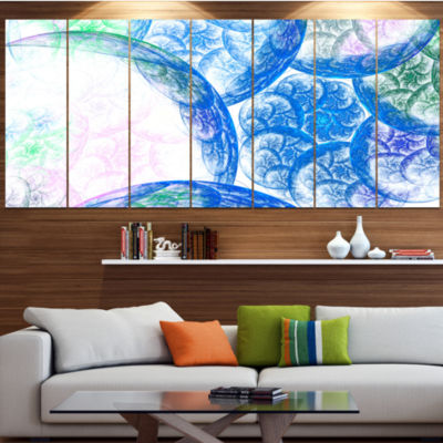 Blue White Dramatic Clouds Abstract Canvas Wall Art - 7 Panels