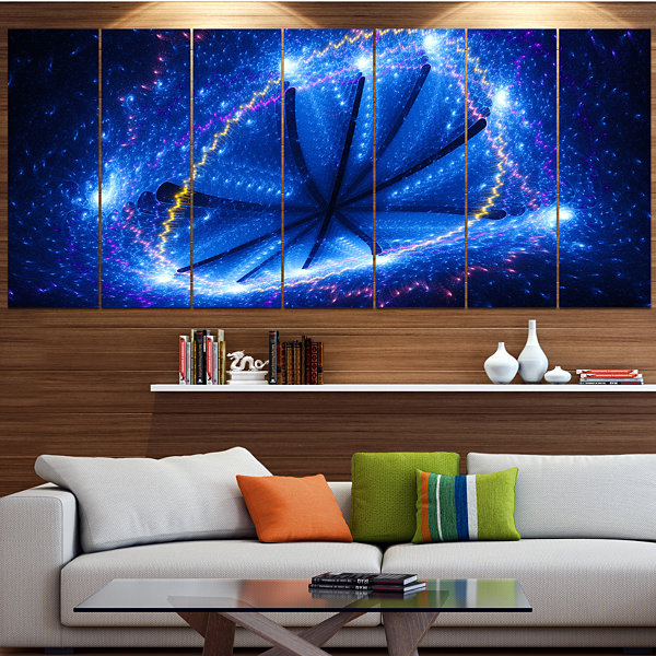 Designart Blue Star Clusters Abstract Canvas WallArt - 5 Panels