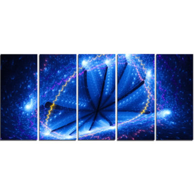 Blue Star Clusters Abstract Canvas Wall Art - 5 Panels