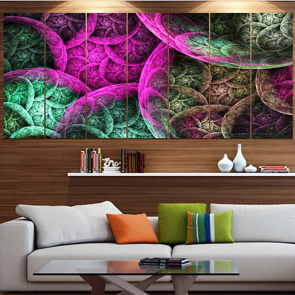 Pink Green Dramatic Clouds Abstract Canvas Wall Art - 5 Panels