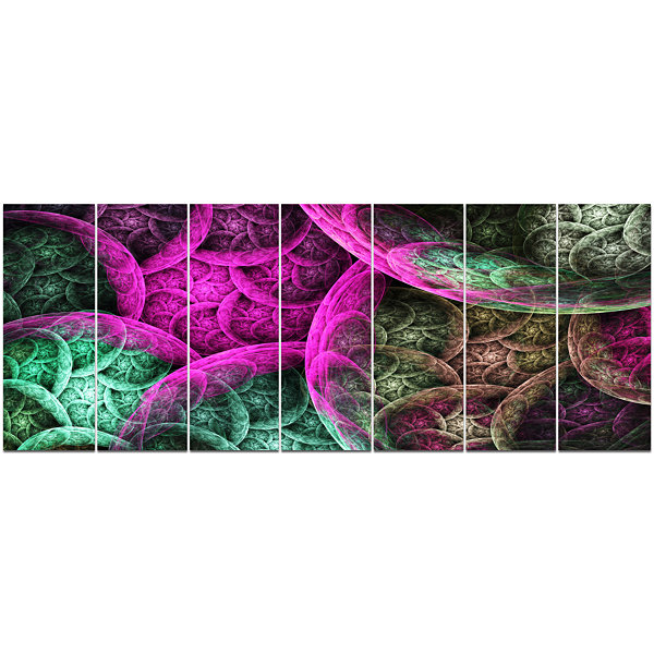 Pink Green Dramatic Clouds Abstract Canvas Wall Art - 7 Panels
