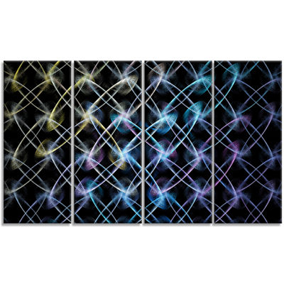 Designart Blue Unusual Fractal Metal Grill Abstract Canvas Wall Art - 4 Panels