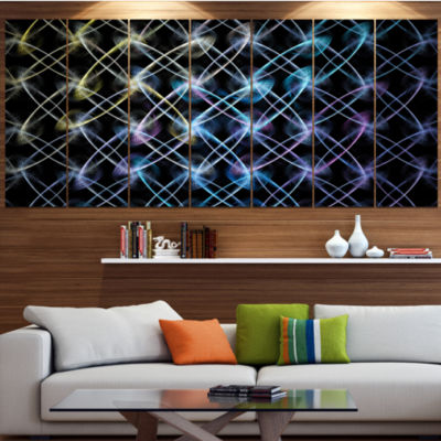Designart Blue Unusual Fractal Metal Grill Contemporary Canvas Wall Art - 5 Panels