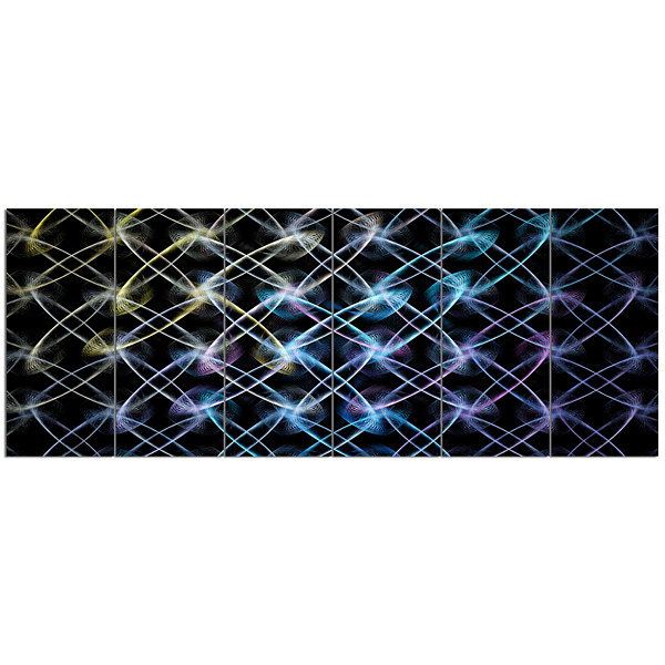 Designart Blue Unusual Fractal Metal Grill Abstract Canvas Wall Art - 6 Panels